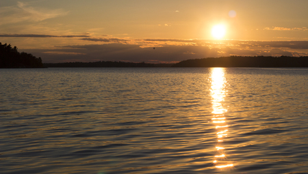 Great sunset in the archipelago, Stockholm, Sweden.