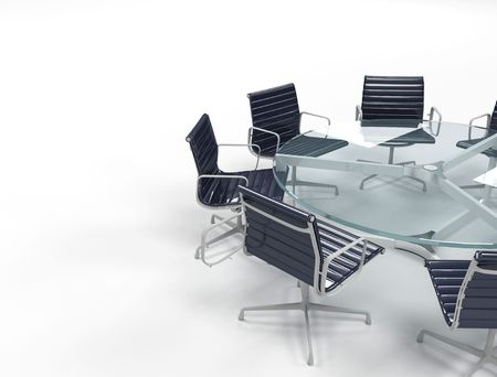 boardroom: Boardroom with table and black chairs,glass table  Stock Photo