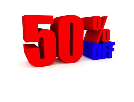 50 Percent off - red and blue color photo