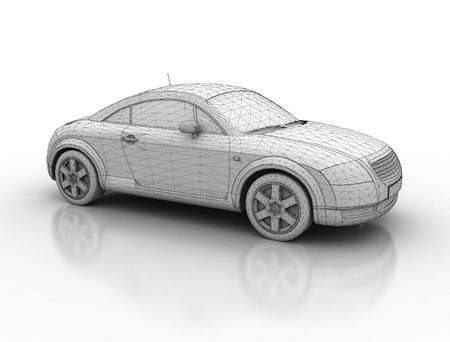 Sporty car, wireframe 3d model