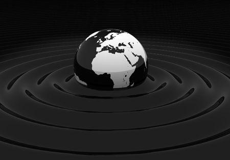 mundo contaminado: Globo de tierra de negro brillante con la contaminaci�n por petr�leo