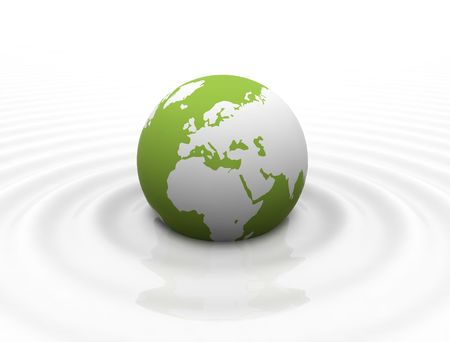 Green World globe in calm milk like ocean - white waves photo