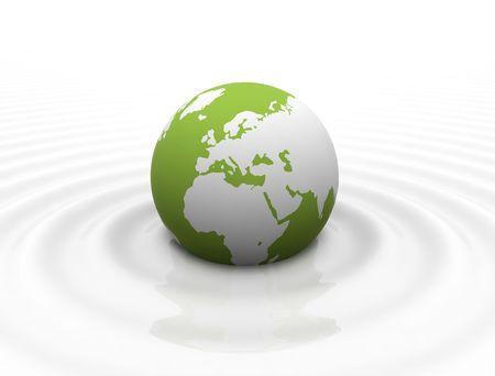 Green World globe in calm milk like ocean - white waves photo