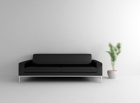 Modern Black sofa with and plant