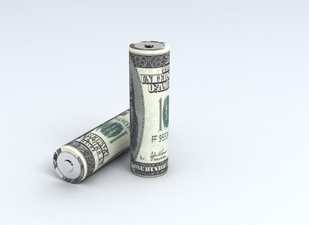 us currency: Batteries with money texture us currency  Stock Photo