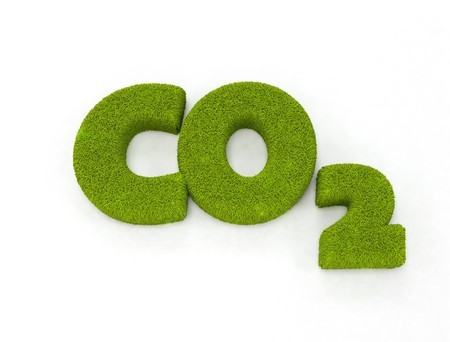 co2 neutral: Grass letters forming CO2