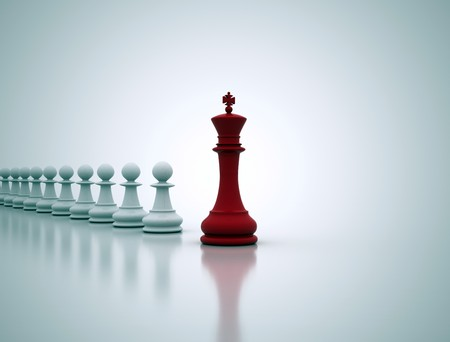 leader concept: Leadership concept illustration - chess king in front  Stock Photo