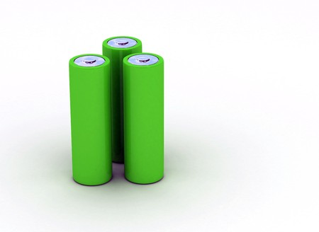 rechargeable: Three green batteries isolated on white
