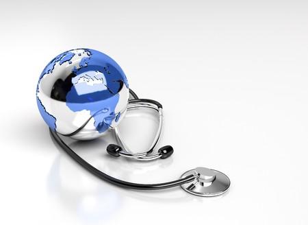 equipos medicos: globo estetoscopio y mundo