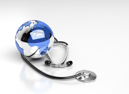 stethoscope and world globe  photo