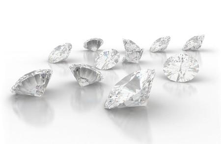 diamante: Diamantes aislados en blanco