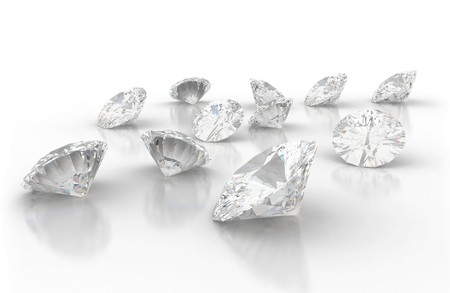Diamonds isolated on white  photo