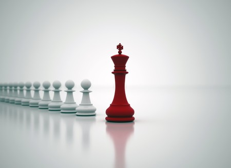 leaders: Succes in business - chess King in front  Stock Photo