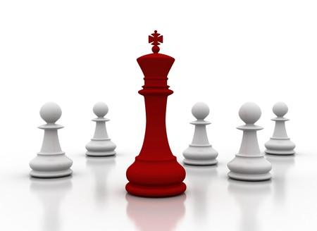 chess game: Leader - leadership illustration on white background