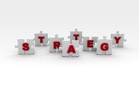 The word strategy spelled out on puzzle pieces  photo