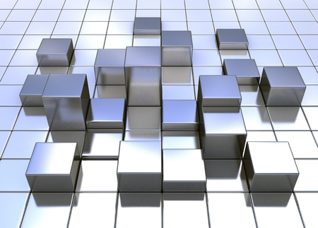 Metal cube background with light reflecting photo