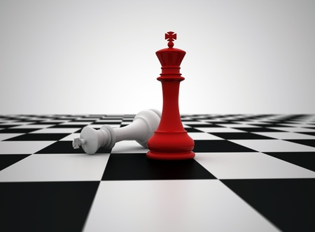 Red chess king last piece standing