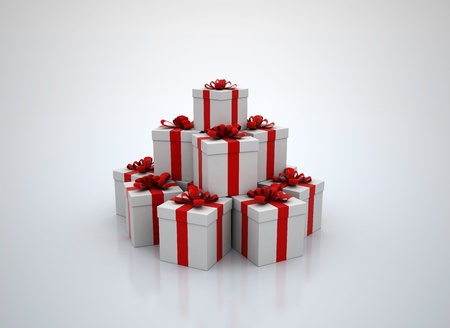 Stack of gift boxes 3d render photo