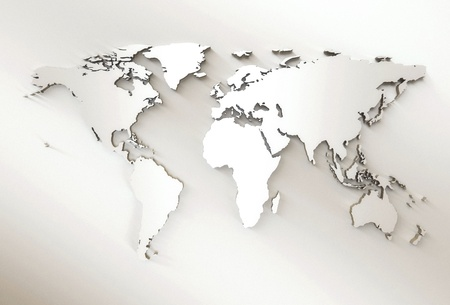 3D Embossed White World Map photo