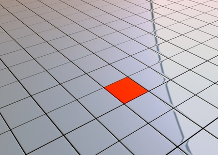 One individuality red cube on reflective tile floor  photo