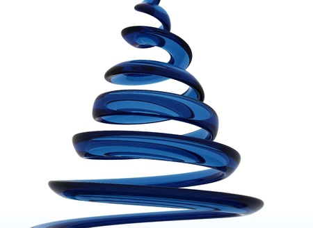 Blue glass spiral isolated on white  Stock fotó