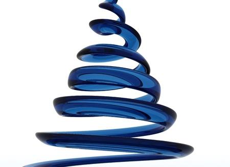 espiral: Espiral de cristal azul aislado en blanco  Foto de archivo