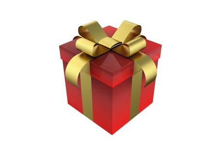 Boîte-cadeau - rouge présent isolé sur fond blanc