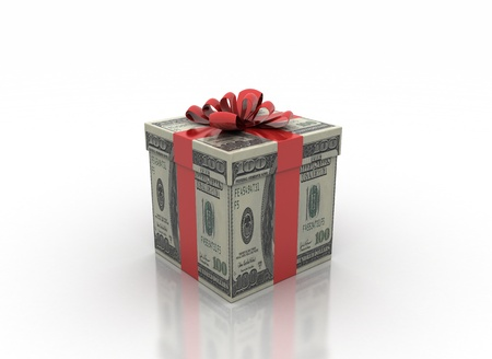 christmas savings: cash gift isolated on a white background  Stock Photo