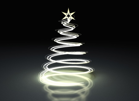 Abstract Christmas tree on dark background photo