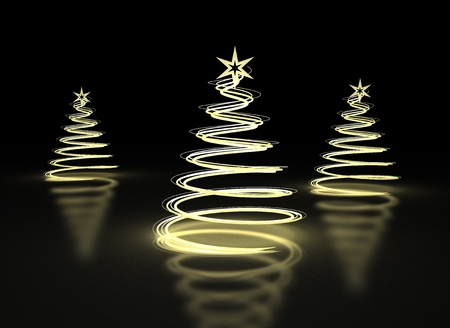 Abstract Christmas trees on dark background photo