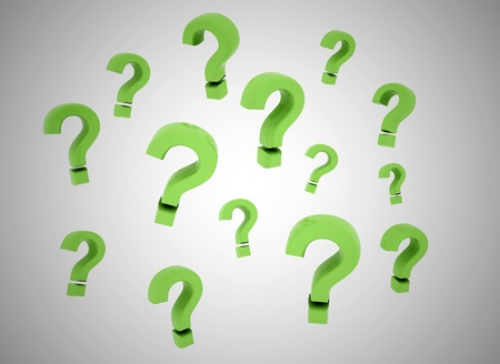 solving: Green question marks floating Stock Photo