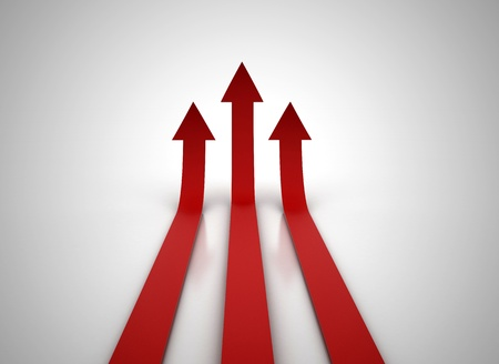 Three red arrows going up - success concept illustration illustration