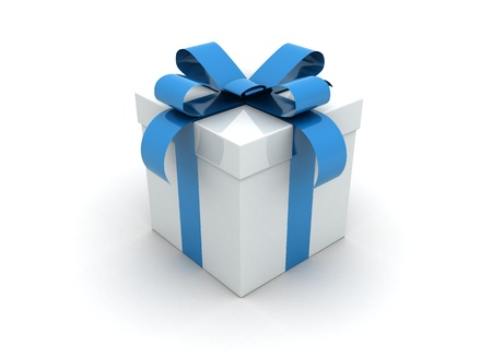 blue box: one white gift box with blue ribbon and bow isolated