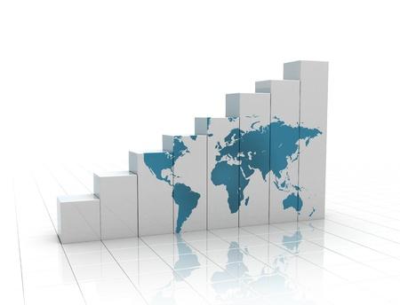poblacion: Gr�fico ascendente con el mapa del mundo