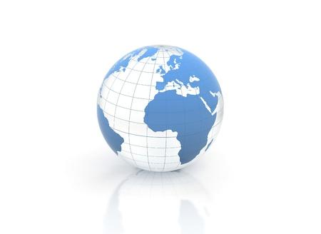 Blue world globe blue glass illustration illustration