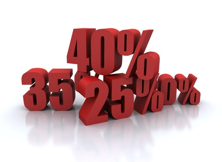percent: Percent discount illustration red on white  Stock Photo