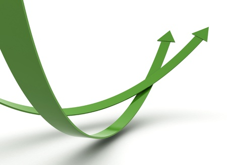Green arrows illustration 3d render Stock Illustration - 8378370