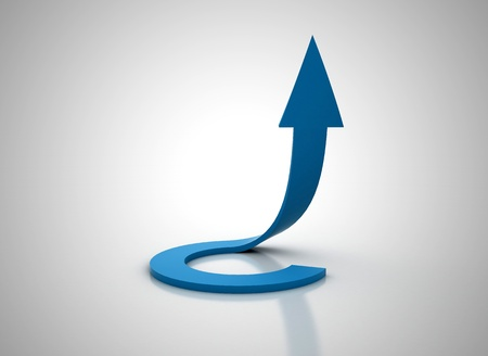 financial targets: Spiral blue arrow going up 3d illudtration Stock Photo