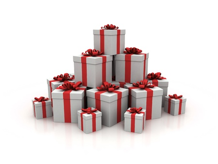 christmasy: Stack of gift boxes 3d render Stock Photo