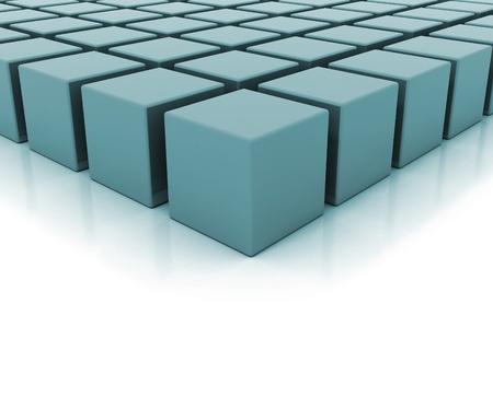 Ilustración 3D de bloques de construcción azules