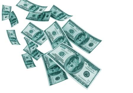Money falling - isolated on white  photo