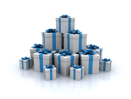 Stack of blue gift boxes 3d render photo
