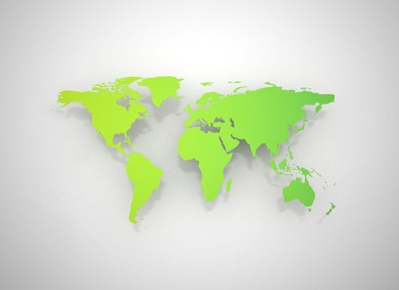 physical geography: Green world map illustration Stock Photo