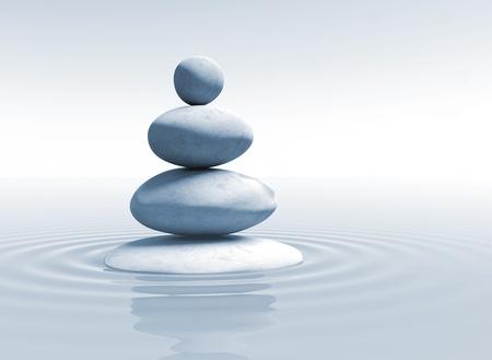 meditation isolated white: zen - stones in balance