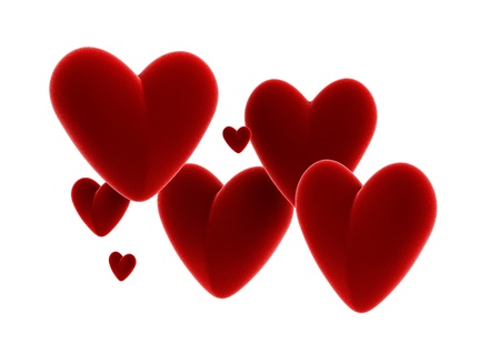 Seven velvet red hearts isolated on white background  photo