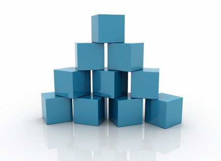 Building blocks pyramid shape on white background