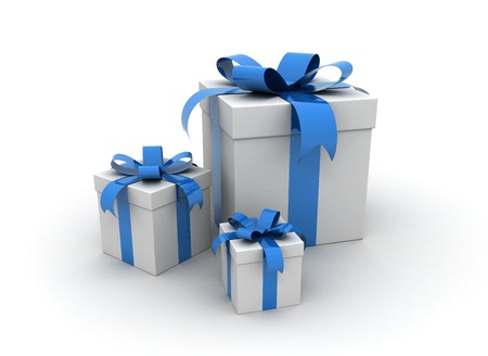 three blue gift boxes