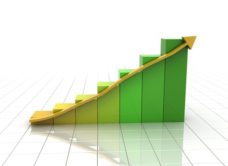 3D business chart with rising arrow Stock Photo - 8620886