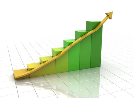 business graph with arrow color change  photo