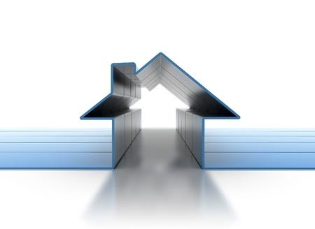 viviendas: Procesamiento de casa s�mbolo 3d alta resoluci�n Foto de archivo